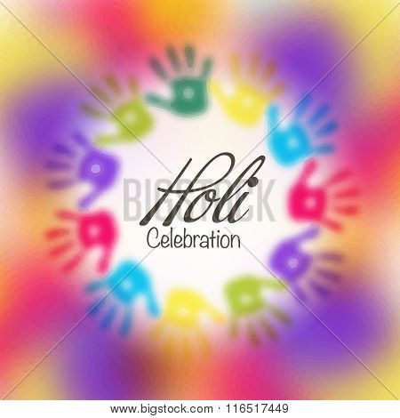 Indian Festival of Colours, Happy Holi celebration with colourful hands print.