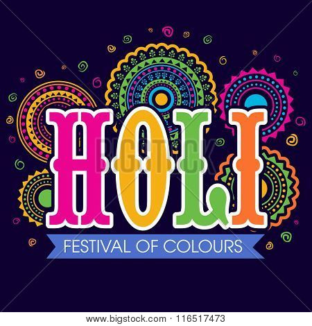 Colourful text Holi on floral decorated background for Indian Festival of Colours celebration.