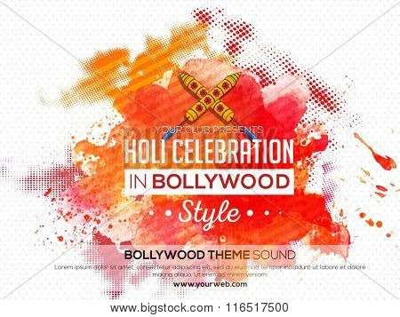 Colourful splash decorated Poster, Banner or Flyer design for Indian Colour Festival, Holi celebration.