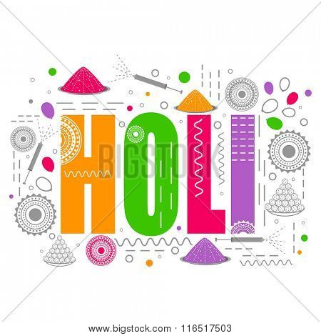 Colourful text Holi on creative background for Indian Festival of Colours celebration.