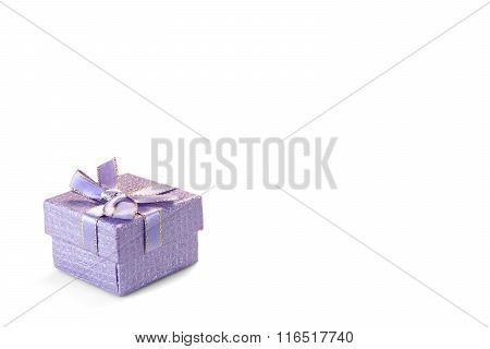 Violet Gift Box With Dotted Pattern Isolated On White Background