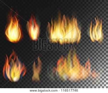 Fire. Realistic elements  set.