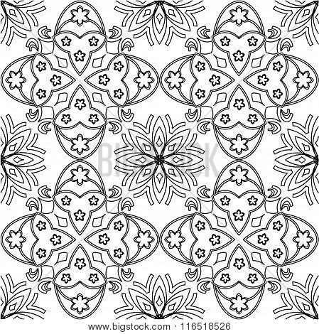 Black and white vector seamless pattern background.