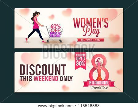 Limited Time Sale website header or banner set with discount offer for Happy Women's Day celebration.
