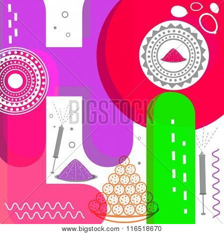 Creative colourful text Holi on stylish background for Indian Festival of Colours celebration.