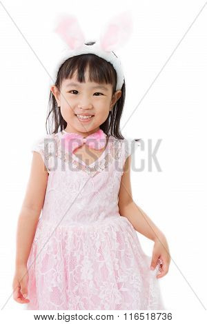 Chinese Little Girl In Bunny Costume