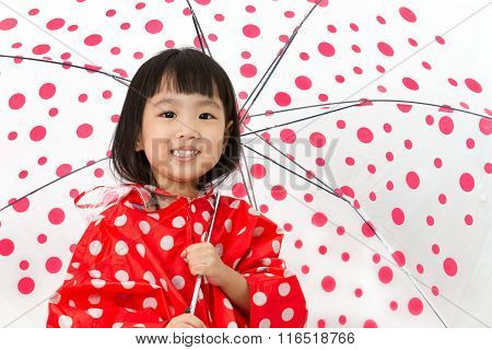Chinese Little Girl Holding Umbrella With Raincoat