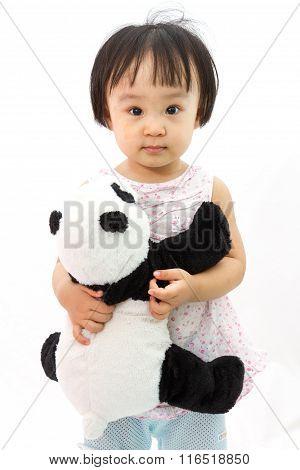 Chinese Little Girl Holding Panda Toy