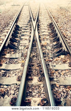 Two Railway Or Railroad Tracks For Train Transportation (vintage Style)