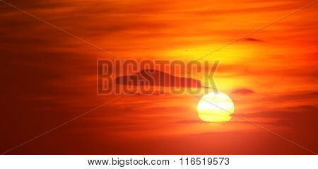 Bright red sunrise. Natural background.