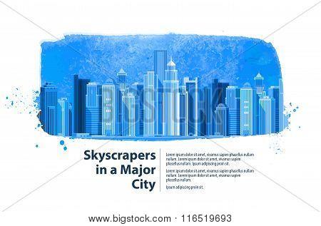 skyscrapers in a major city. vector illustration