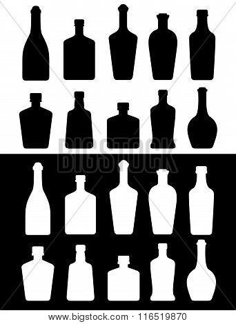 black and white bottles
