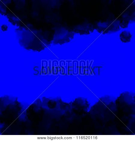Dark blue deep water background. Abstract watercolor style with place for text in the middle. Vector