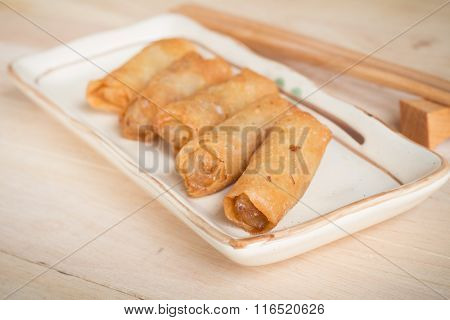 Deep Fried Spring Rolls With Pork Stuffed