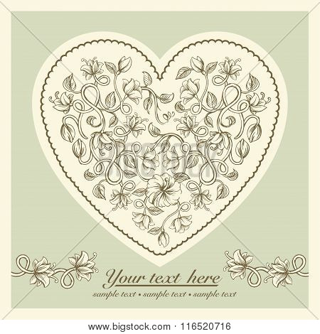 Beautiful card with a heart of different weave flowers of vintage