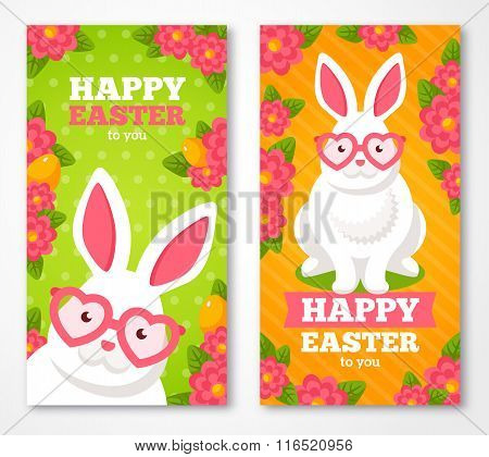 Easter Banners With Flat Cute White Rabbit