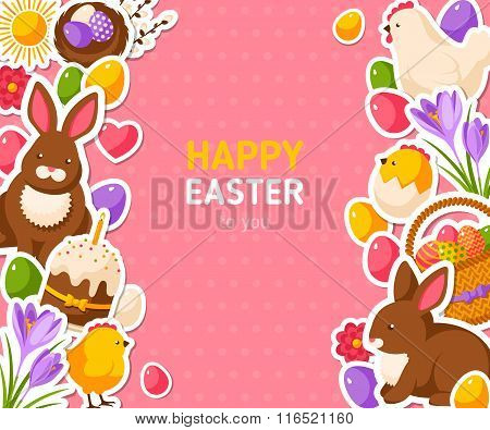 Happy Easter Pink Banner With Flat Stickers