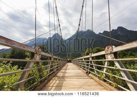 The Suspension Bridge Crossing The Nam Song River