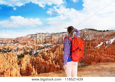 Woman in Bryce canyon looking to distance