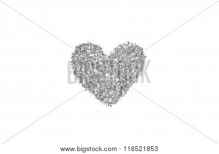 Abstract heart of silver glitter sparkle on white background