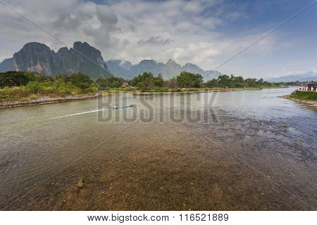 Vang Vieng Is A Tourism-oriented Town In Laos