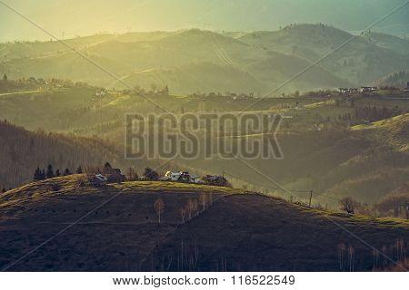 Morning Rural Scenery, Sirnea Village, Romania