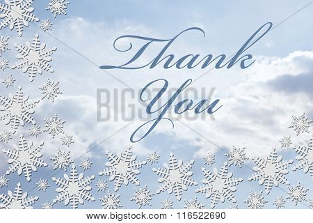 White Snowflake Background With Thank You Message