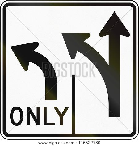 United States Mutcd Road Sign - Allowed Turns On Lanes
