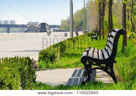 Free Bench In A Park On The Waterfront In Kiev