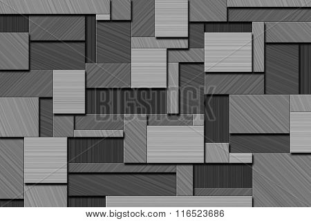 A Cubist Abstract Background with Squares and Brushed Metal Texture