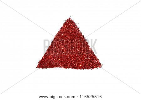 Abstract triangle or pyramid of red glitter sparkle on white background