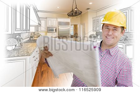 Smiling Contractor Holding Blueprints Over Custom Kitchen Drawing and Photo Combination.