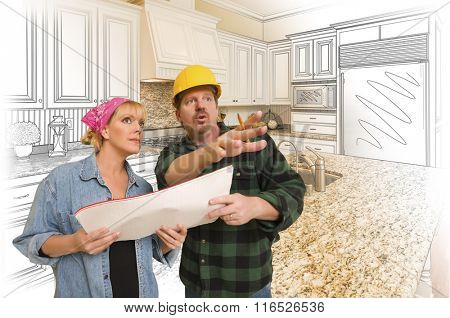 Contractor Talking with Customer Over Custom Kitchen Drawing and Photo Combination.