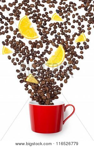 cup filled coffee beans with orange on white