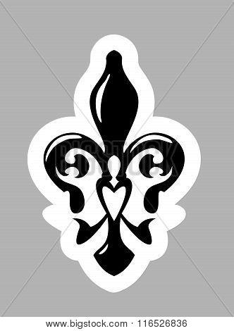 Fleur De Lis Symbol. Isolated On Grey