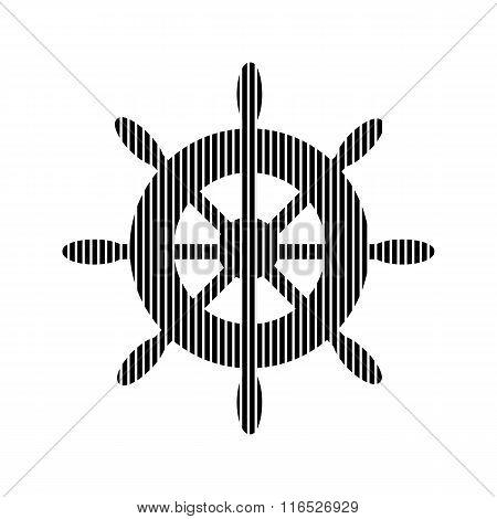 Steering Wheel Sign On White.