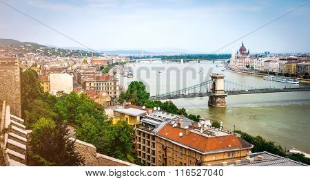 view on Budapest from Buda castle wall