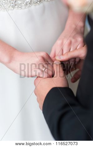 Bride and groom holds hands