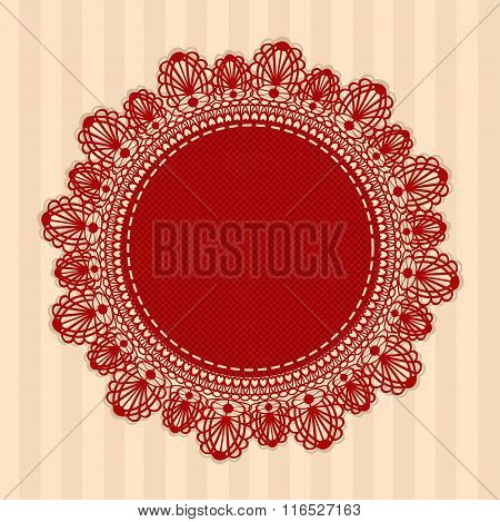 Red Vintage Round Lacy Napkin. Vector Illustration.