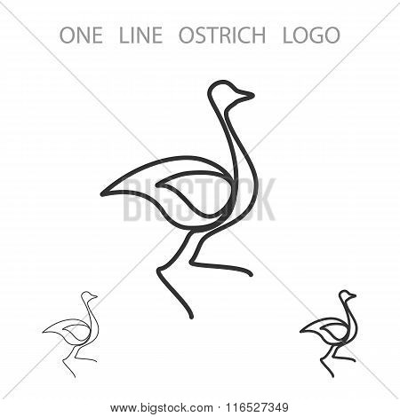 Ostrich. One Line Logo. Minimalism Style Logotype. Vector