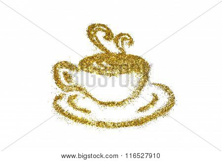 Golden cup of coffee of glitter sparkle on white background