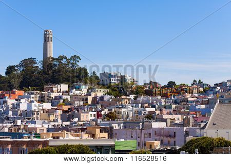 Panorama and Coit Tower with San Francisco view
