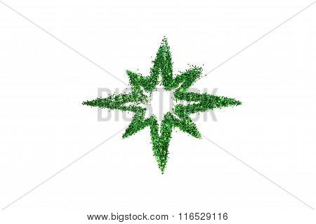 Abstract star of green glitter sparkle on white background