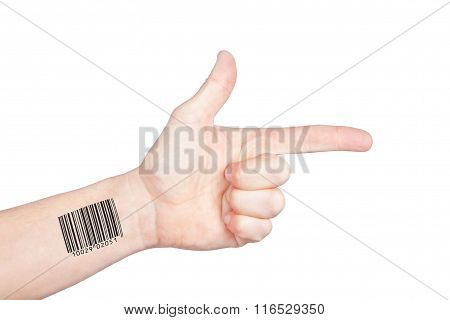 The actual direction of personal privacy. Hand with bar code points.