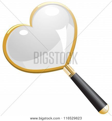Love Search Magnifying Glass vector illustration