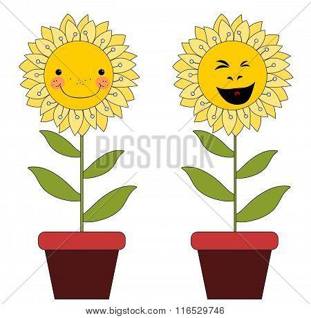 Smiling Cartoon Flowers In Flowerpots