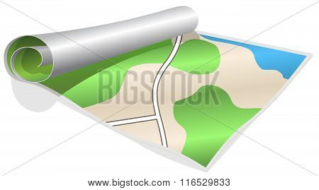 Rolled map vector illustration
