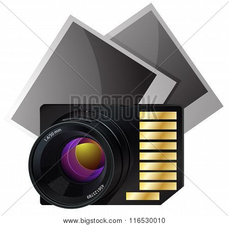 Memory card for photo vector illustration