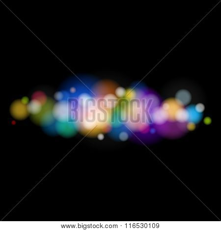 Colored Bright  Lights on Black Background