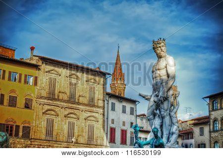 Front View Of Neptune Statue In Piazza Della Signoria